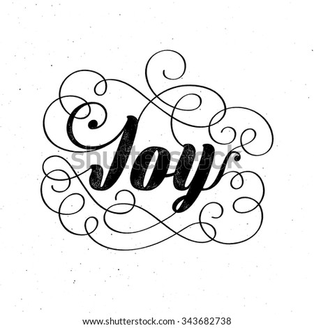 Joy - Christmas retro lettering, greeting card template. Vector ink stamp effect, grunge background. - stock vector