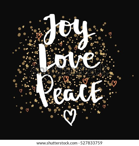 Peace Love Joy Quotes Interesting Joy Love Peace Christmas Gold Glittering Stock Vector 527833759