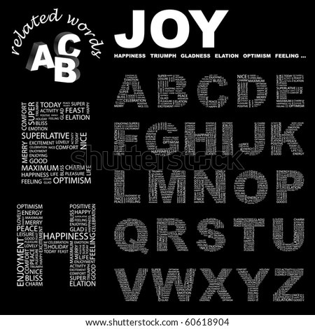 JOY. Vector letter collection. Illustration with different association terms.