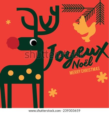 Joyeux noel means merry christmas french stock vector 239303659 joyeux noel means merry christmas in french white christmas reindeer christmas invitation christmas stopboris Choice Image