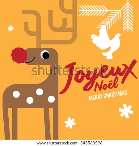 Joyeux noel means merry christmas french stock vector 343563596 joyeux noel means merry christmas in french white christmas reindeer christmas invitation christmas stopboris Gallery