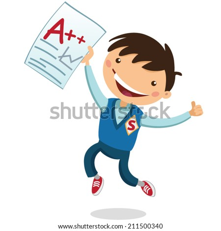 joyful boy received a good mark - stock vector