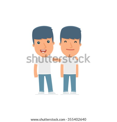 Joyful Character Activist and his best friend standing together. Poses for interaction with other characters from this series - stock vector