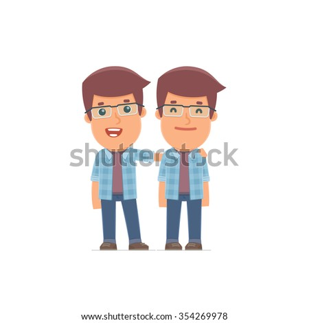 Joyful Character Freelancer and his best friend standing together. Poses for interaction with other characters from this series - stock vector