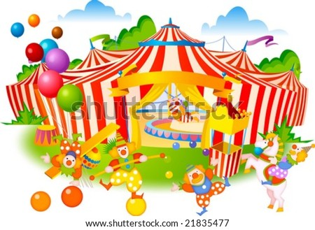 Joyful Circus and Cute Pierrot - enjoy happy and funny clowns at the fantastic circus festival on a background of the big top tent with red stripes and flying colorful balloons : vector illustration - stock vector