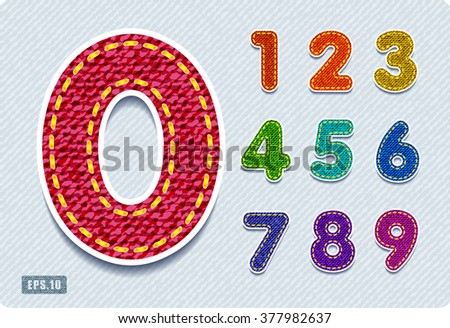 Joyful 3d colorful denim numbers. Set. eps10.  Zero 0 One 1 Two 2 Three 3 Four 4 Five 5 Six 6 Seven 7 eight 8 nine 9. vector.