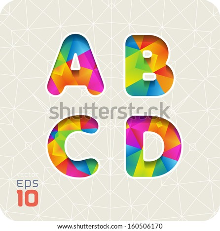Joyful 3d set of cut paper vector alphabet. The capital letters A, B, C, D. Multicolored gradient. Eps 10. The rest of letters, symbols and numbers of the alphabet in my portfolio. - stock vector