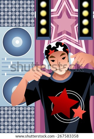 Joyful Disco Jockey and Showy Discotheque - young handsome man play electro tool and techno dance with dj mixer in nightclub at concert event on background of colorful stage lamp : vector illustration - stock vector