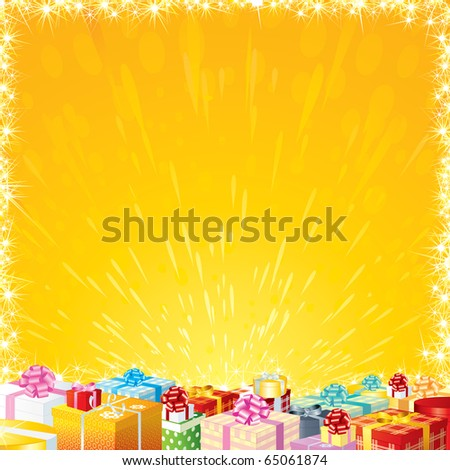 Joyful Festive background with Motley Gift Boxes,  ready for your greeting or wishes text - stock vector