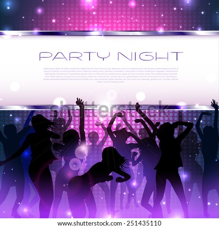 Joyful Girl Party Music background with silhouettes  - Vector - stock vector