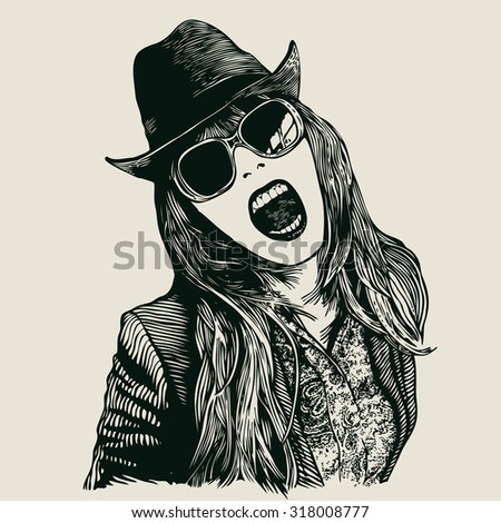 Joyful girl screaming in hat and sunglasses .engraving style. vector illustration.