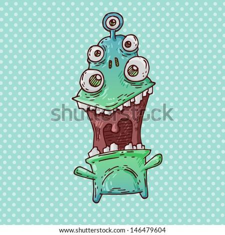 joyful monster - stock vector