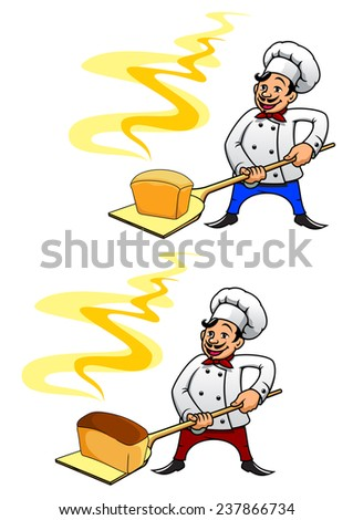 Joyful mustached baker in uniform and toque holding a loaf of hot bread on peel tool - stock vector