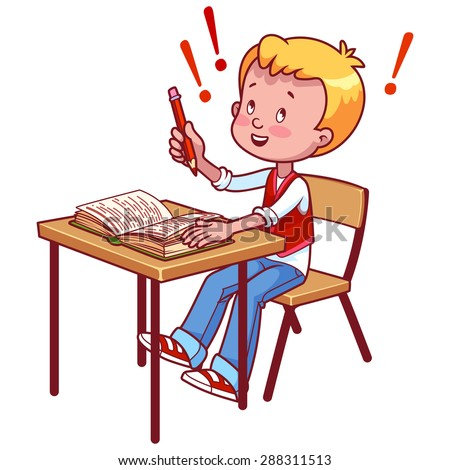 Joyful schoolboy behind a school desk with a book. Vector illustration on a white background.