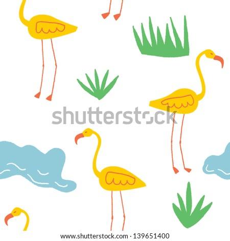 joyful seamless vector pattern with yellow flamingos - stock vector