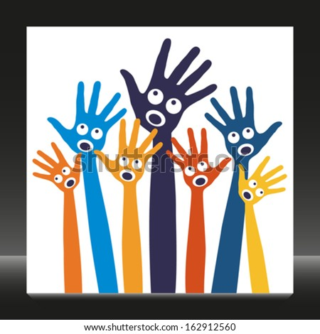 Joyful singing people hands.  - stock vector