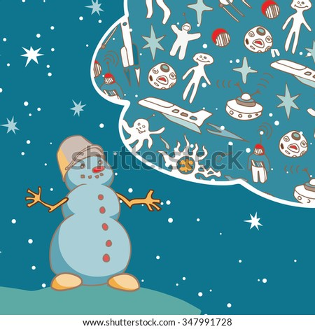 Joyful Snowman dreams of space travel. Vintage greeting card. EPS-8 - stock vector