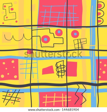 Joyful vibrant geometric background. Vector seamless - stock vector