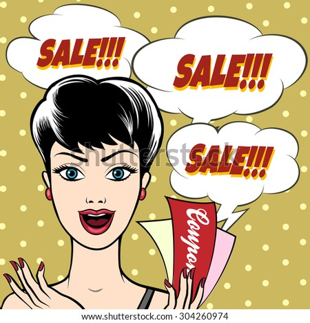 Joyful Woman with SALE signs and coupons in her hand. Illustration in pop-art style. Only free font used. - stock vector
