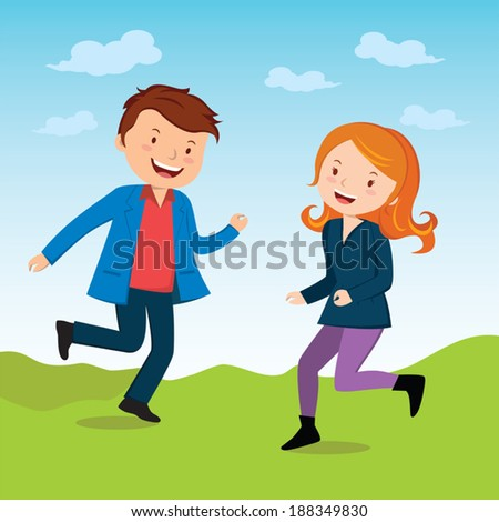 Joyous. Vector illustration of a happy young man and woman with bliss and joy. - stock vector