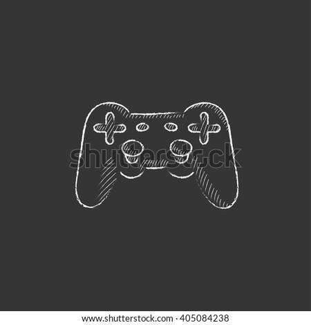 Joystick. Drawn in chalk icon. - stock vector