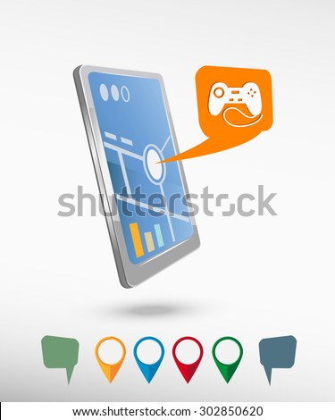 Joystick icon and perspective smartphone vector realistic. Set of bright map pointers for printing, website, presentation element and application mockup. - stock vector