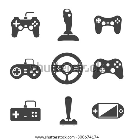 Joystick icons set. Video virtual play, gaming console, vector illustration - stock vector