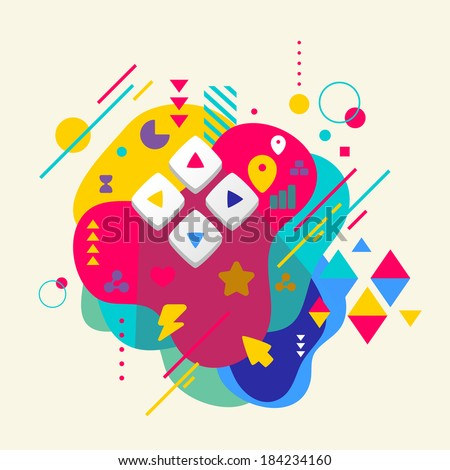 Joystick on abstract colorful spotted background with different elements. Flat design. - stock vector