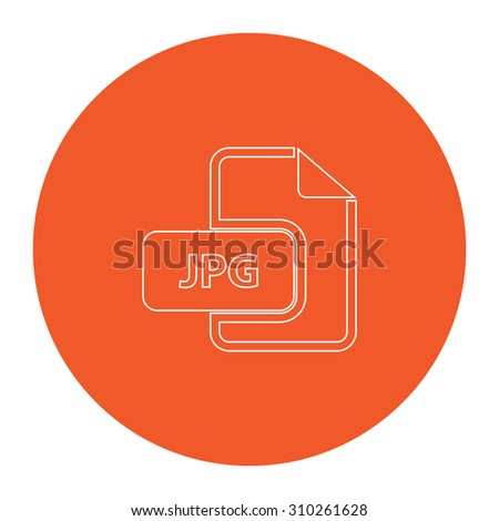 JPG image file extension. Flat outline white pictogram in the orange circle. Vector illustration icon - stock vector