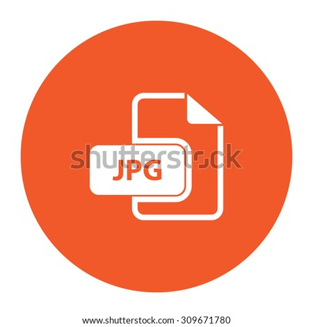 JPG image file extension. Flat white symbol in the orange circle. Vector illustration icon - stock vector