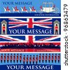 Jubilee Banners, Set of vector templates for a British royal celebration, with a State Symbols and Union Jacks - stock photo
