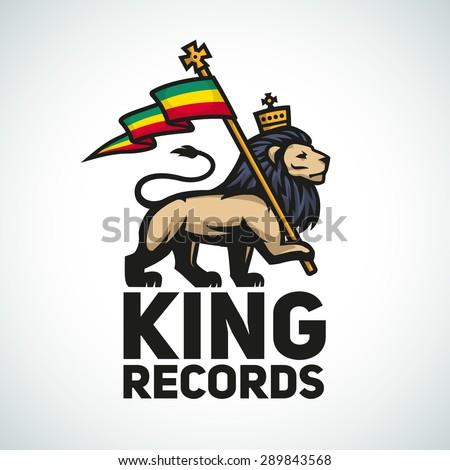 Judah lion with a rastafari flag. King of Zion logo illustration. Reggae music vector design. - stock vector