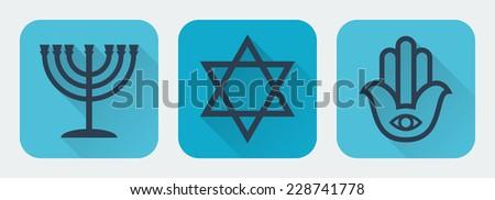 Judaism flat set.Vector illustration - stock vector
