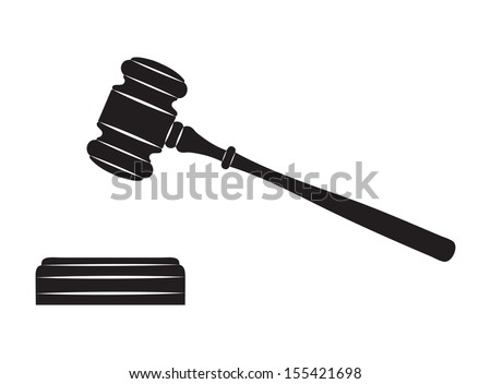 Judge gavel. Black silhouette on white background. - stock vector