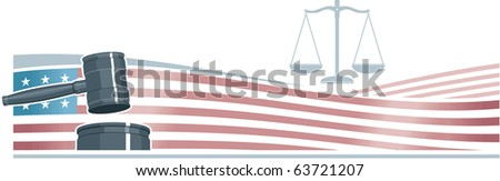 Judge Gavel (Hammer) on American Flag Background - stock vector