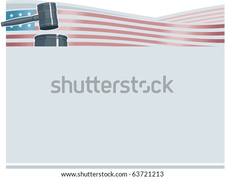 Judge Gavel (Hammer) on American Flag Background - stock vector