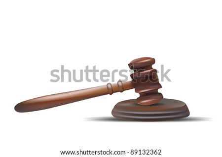 Judge Gavel Isolated on White - stock vector
