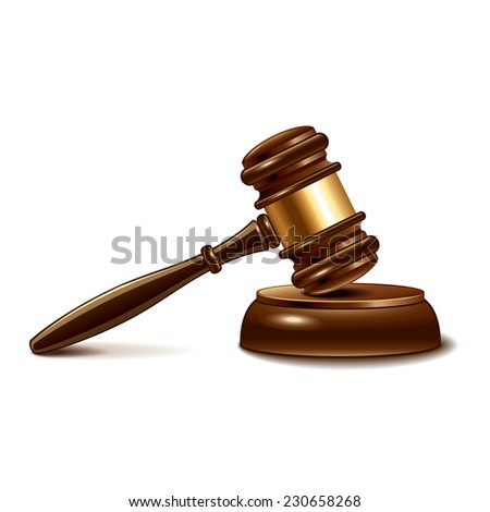 Judge gavel isolated on white photo-realistic vector illustration - stock vector
