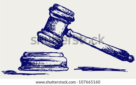 Judge gavel sketch - stock vector