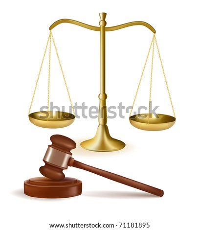 Judge gavel with scales. Vector illustration. - stock vector