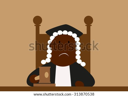 Judge in his wig passing judgment in court hammering down with his gavel - stock vector
