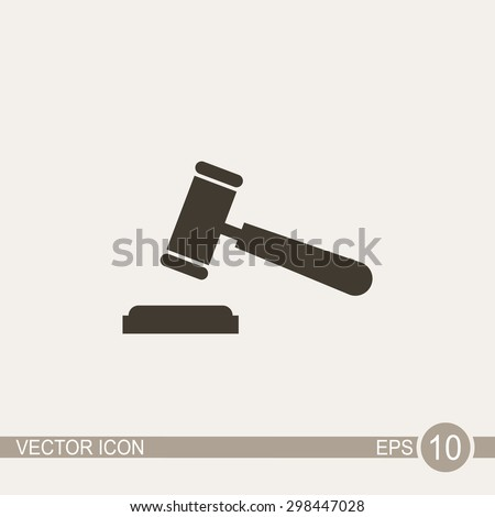 Judge or auction hammer vector icon. - stock vector