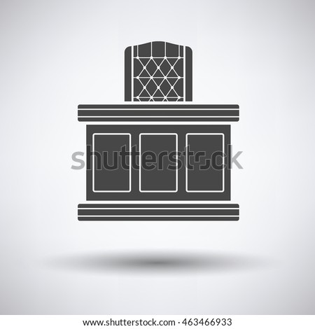 Judge table icon on gray background with round shadow. Vector illustration.