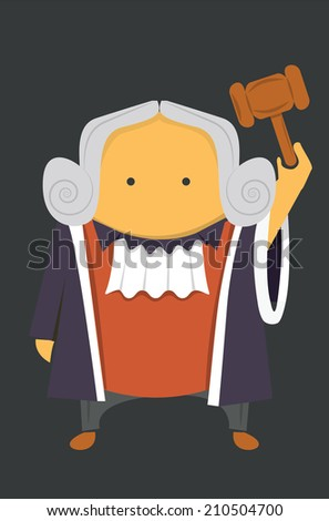 Judge with a hammer - stock vector