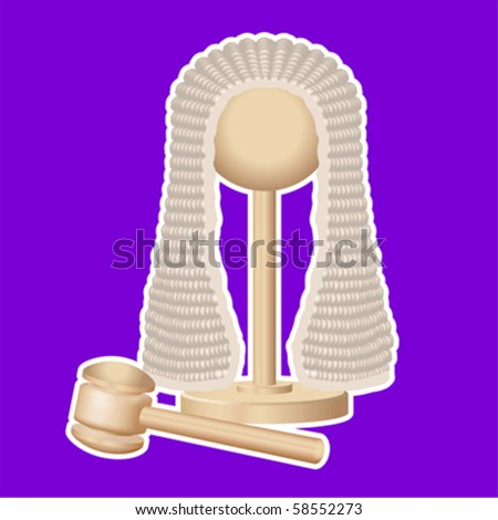 Judges wig and gavel - stock vector