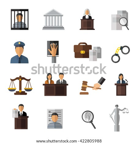 Judicial system icon set elements of trial the judge in the courtroom and man in jail vector illustration - stock vector