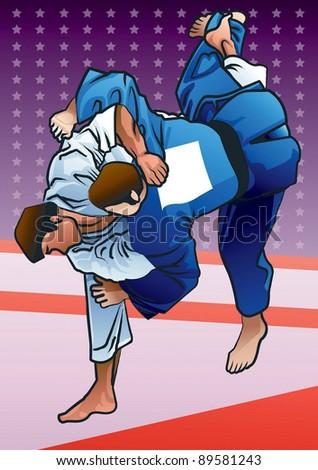 Judo - stock vector