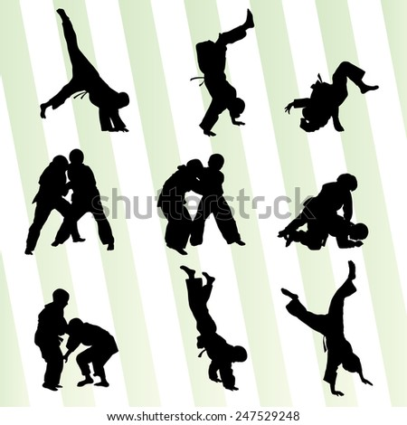 Judo fight boy set vector background concept - stock vector