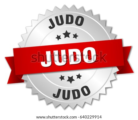 judo round isolated silver badge