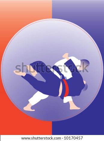 Judo throw poster number 3. Please, see others in similar style in my portfolio. Two color design. - stock vector